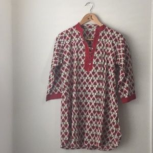 Red and White Patterned Kurta Top
